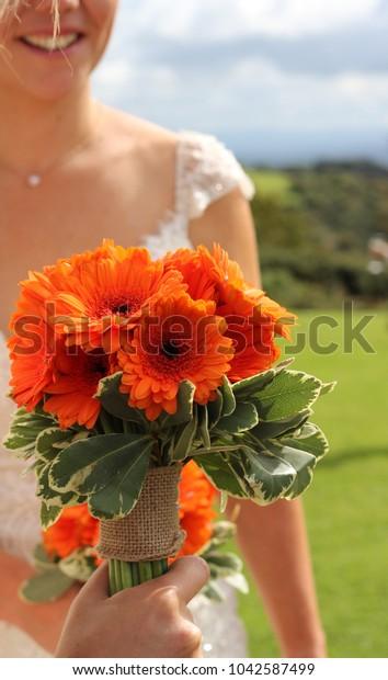 Simple Rustic Bridal Bouquet Orange Gerbera Stock Photo Edit Now