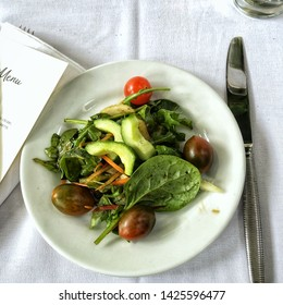 Simple salad with fresh veggies for the dinner at restaurant
