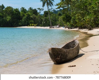 Simple sea gypsy, canoe made from one piece of wood on a beach at Dome Island outside Myeik, a part of the Mergui or Myeik Archipelago in the Tanintharyi Region of Southern Myanmar.