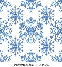 Simple seamless pattern with snowflakes on white background. Holiday design for Christmas and New Year fashion prints. Raster version illustration.