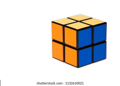 Simple small four tiles cube Easy mind challanging puzzle on white background, simplicity, ease