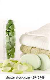 Simple spa, bath or shower collection in green and white