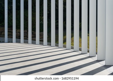 Simple spripe background of light and shadows. Modern urban architecture abstract lines background