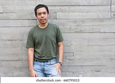 simple style hipster man with chill and relax outfits in outdoor urban location background