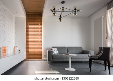 Simple and stylish living room with gray couch, furry chair, sideboard and modern ceiling lamp