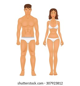 simple stylized illustration of a healthy body type of man and woman in colors