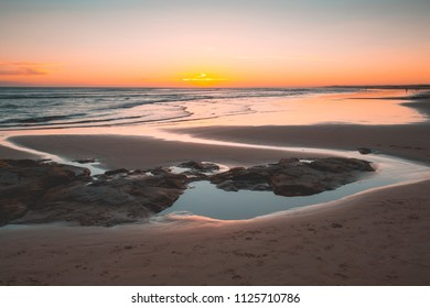 A simple sunset at Birubi beach Australia with tidal reflections
