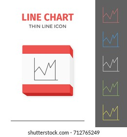 Simple thin line stroked chart or graph  isolated icon.