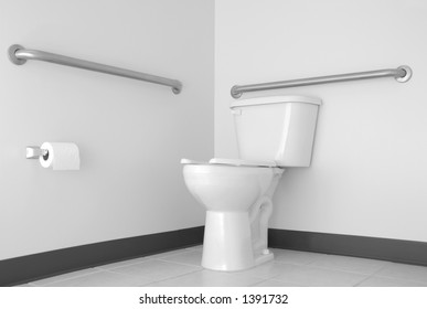 Simple Toilet & Bathroom with ADA Grab Bars