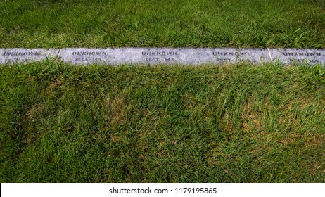 The simple unknown graves at an American Civil War cemetery in Pennsylvania.