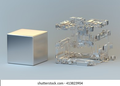 Simple versus complex. Generic visualization of the concept. 3D rendering.