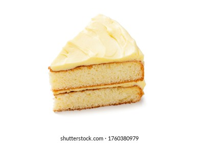 Simple Victoria sandwich cake with vanilla buttercream. isolated on white background