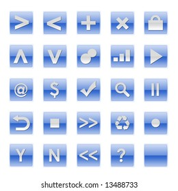 Simple Web Software Internet Buttons in Blue Tones