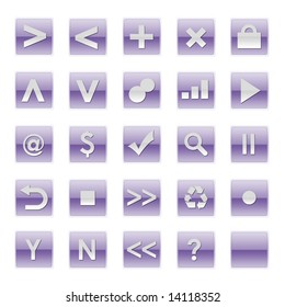 Simple Web Software Internet Buttons in Purple Tones