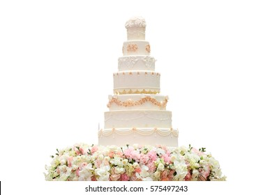 Simple wedding cake with flower isolate on white background