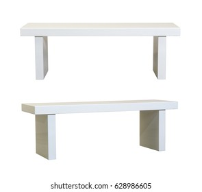 Simple White bench on white background