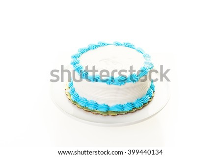 Simple White Birthday Cake With And Blue Icing