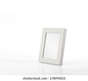 Simple, white desk photo frame