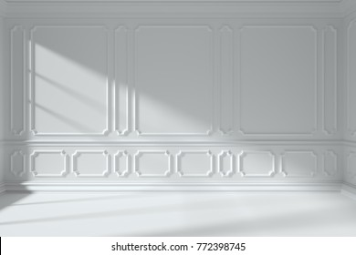 Simple white room interior with sunlight from window, with white decorative classic style molding frames on walls, with flat ceiling, floor and baseboard, 3d illustration