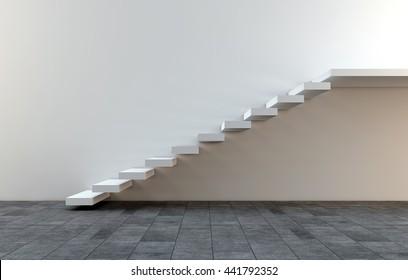 Simple white stair 3D rendering
