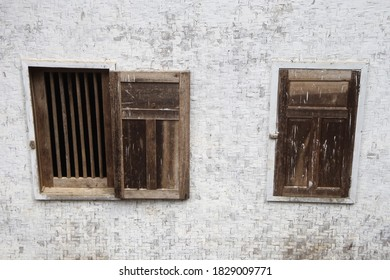 Simple window of traditional house in Sundanese village.