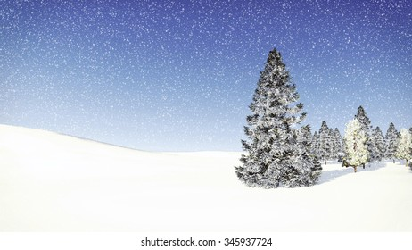 Simple winter scenery with snowy fir trees among snowdrifts at snowfall day. Decorative 3D illustration was done from my own 3D rendering file.