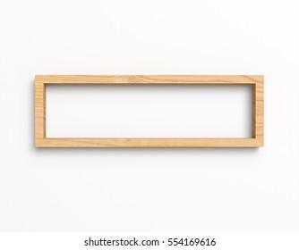 Simple wood box shelf isolated on white background