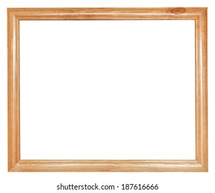 simple wood picture frame with cut out canvas isolated on white background