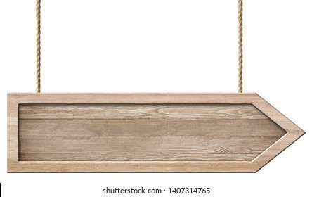 Simple wooden arrow signpost made of natural wood and with brigh