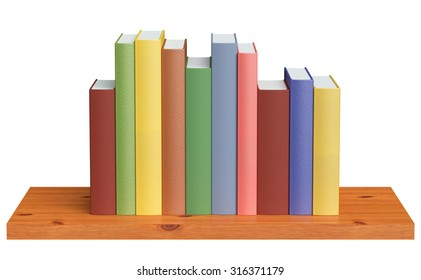 Simple wooden bookshelf with colored books isolated on white 3D illustration