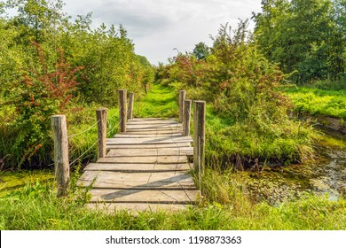 Simple wooden bridge of wooden planks and round beams over a ditch in a Dutch nature reserve in autumnal  colors. The photo was taken at the Pompveld near Babyloniënbroek in Noord-Brabant.