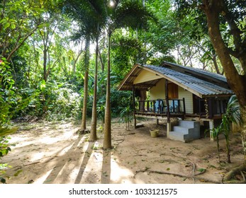 Simple wooden bungalow in the jungle on Koh Bulon, Thailand - island in the Andaman sea