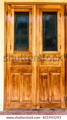 Simple Wooden Door Dark Glass Pane Stock Photo Edit Now 601943243