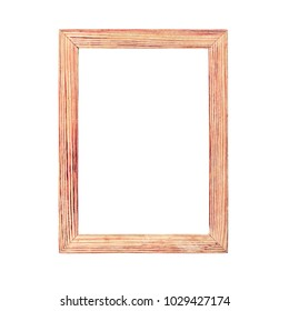 Simple wooden photo frame isolated on white background