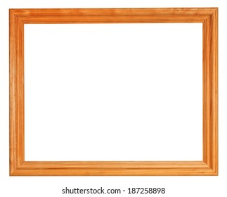 simple wooden picture frame with cut out canvas isolated on white background