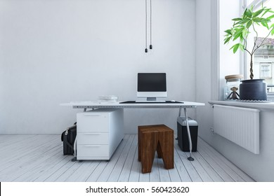 Simple workspace with a wooden stool and table over a set of drawers in a modern monochromatic white room with computer and potted plants, 3d rendering