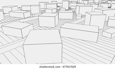 Simplified different sized boxes on conveyors. 3D rendering