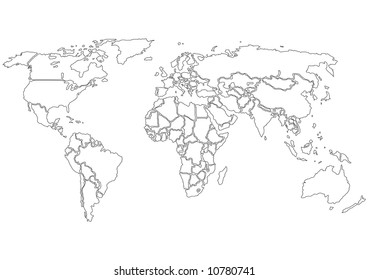 Simplified World map, contours only on White background. Each country is a separate shape.