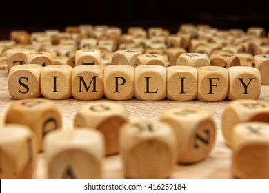 Simplify word written on wood block