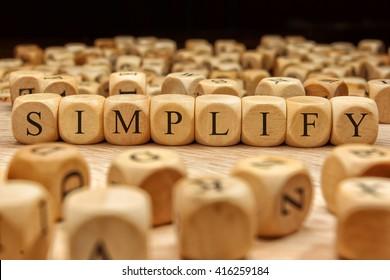Simplify word written on wood block