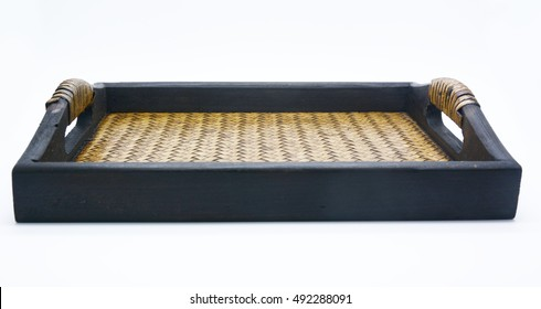 simply wood tray isolated on white, woven bamboo tray