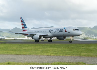 Simpson bay, Sint Maarten-December 12, 2016: American airlines getting ready to take off on Princess Juliana International airport