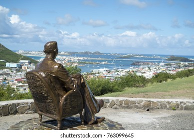 Simpson bay St Maarten- November , 2017: Newly design statue looking over dutch sint maarten cole bay on top of the hill.