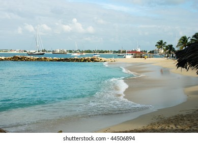 Simpson Bay tropical beach in St Maarten