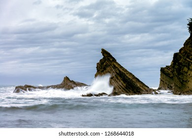 Simpson Reef at Shore Acres near Coos Bay in Southern Oregon strong waves winter storm global warming