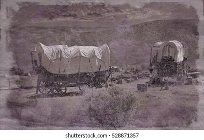 Simulated old photograph of a wagon train camp