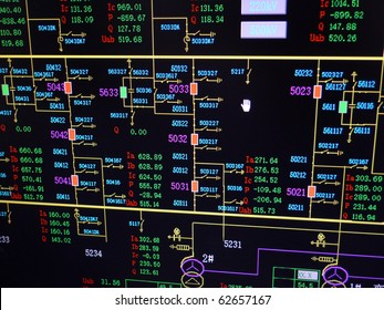 Simulation electric transformer substation on monitor. Electric supervisory control and data acquisition.