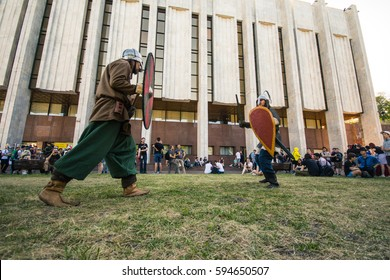 Simulation fights of the knights during the Kyiv Comic Con festival. June 7, 2015
