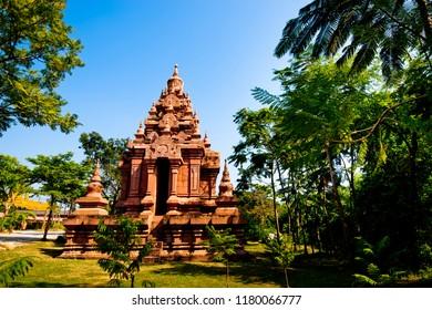 Simulation of  pagoda  in Ancient City Samut Prakan or Samutprakarn ,Thailand