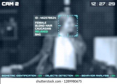 Simulation of a screen of cctv cameras with facial recognition. Facial recognition of a woman.